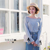 東京著衣-多色甜美休閒百搭條紋上衣-S.M(180731)
