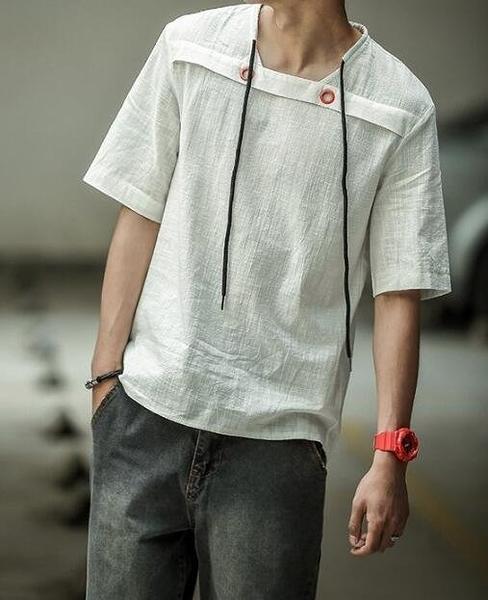 FINDSENSE MD 日系 潮 男 時尚 寬鬆 純色素面 特色抽繩設計 短袖