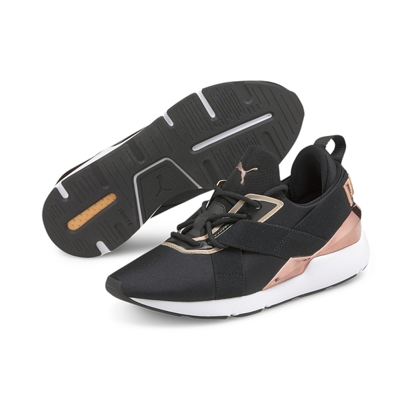 PUMA MUSE X3 METALLIC WNS 女款玫瑰金黑兩色運動慢跑鞋-NO.37513101