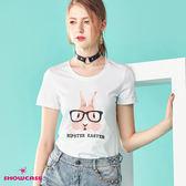 【SHOWCASE】休閒圓領兔子印花百搭棉質T恤(白色)