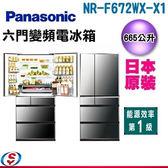665公升 Panasonic 國際牌 ECONAVI 日本製六門晶鑽鏡面變頻冰箱 NR-F672WX-X1