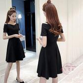 夏季新品女裝正韓顯瘦一字領短袖赫本a字小黑裙吊帶連身裙洋裝子