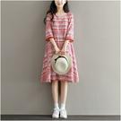 民族風連身裙 夏季女裝民族風裙流蘇復古印花中長款顯瘦A字裙五分袖棉綢洋裝-Ballet朵朵