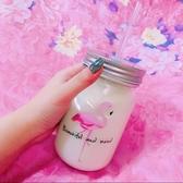 韓國可愛吸管透明玻璃梅森水瓶 創意帶蓋冷飲奶茶果汁公雞水杯子