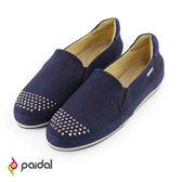 Paidal簡約時尚圓鑽休閒鞋樂福鞋懶人鞋-格紋藍