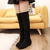 過漆靴 歐美過膝長靴低跟高筒顯瘦彈力布女靴套筒百搭長筒靴 酷我衣櫥