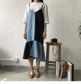 【雙12】全館低至6折夏裝新款西裝料拼接牛仔吊帶裙女V領荷葉邊裙