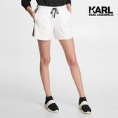 KARL LAGERFELD KARL側排大寫LOGO運動短褲-白