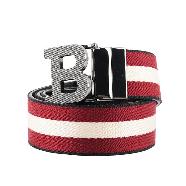 【BALLY】B-BUCKLE 3.5cm 黑邊織帶雙面腰帶 85/90/95/100/105cm (紅色/白色) 6235340