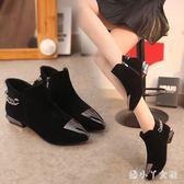 平底短靴馬丁靴女鞋春秋季2018新款百搭單靴裸靴款 XW3824【潘小丫女鞋】