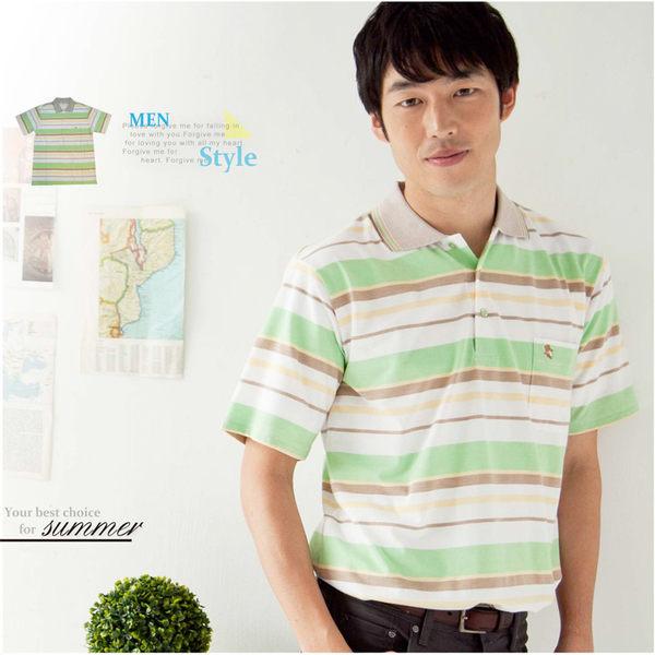 【大盤大】(P73671) 男 夏 短袖POLO衫 有領休閒衫 橫條紋棉衫 薄上衣 口袋 有加大尺碼