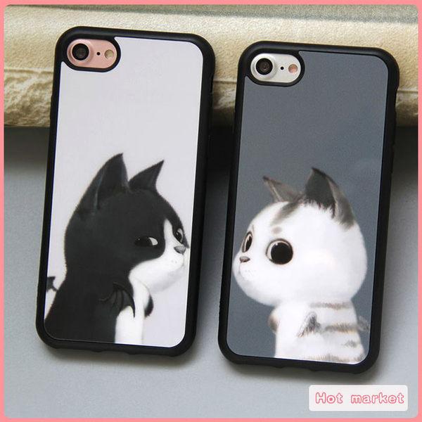 送二合一掛繩 蘋果 iPhone 8 5 5S SE 6 6S 7 Plus 創意 猫咪 情侶 手機殼 防摔 軟殼 矽膠套