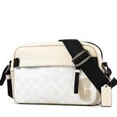 美國正品 COACH 男款 EDGE 緹花LOGO防刮皮革斜背相機包-米白色【現貨】