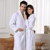 酒店純棉浴袍男女夏華夫格全棉吸水浴衣春夏秋季薄款長款成人睡袍 凱斯頓3C
