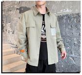 襯衫男士夏季長袖襯衫外套韓版潮流寬鬆襯衣男裝秋季休閒薄款工裝寸衫 雲朵走走