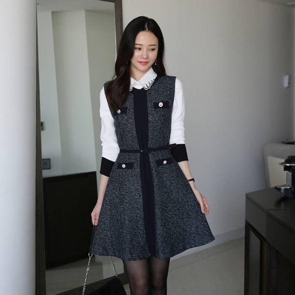 現貨 - 正韓 質感人字紋珍珠無袖連身裙 2018首爾平價流行女裝