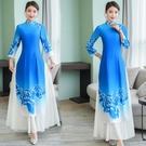 越南旗袍洋裝 2021年新款中國風舞臺服演出走秀長款改良旗袍女奧黛七分袖連身裙