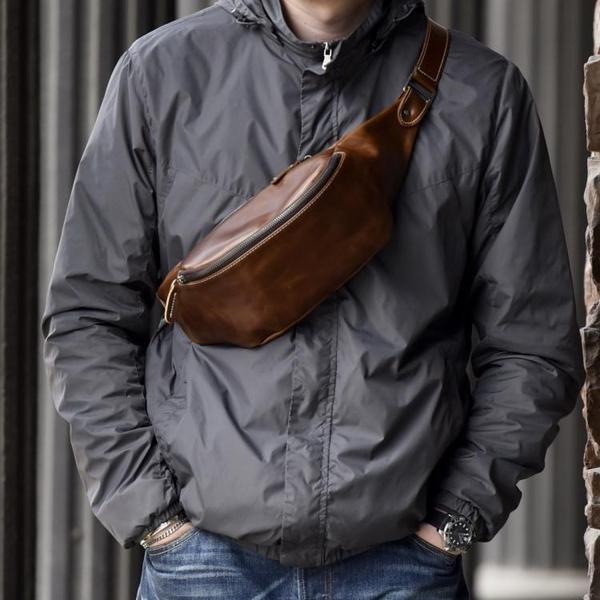 頭層牛皮復古潮流胸包多功能男士側背包斜背背包休閒運動腰包 黛尼時尚精品