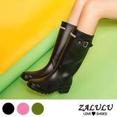 ZALULU愛鞋館 JK050 經典百搭款英文字素色雨靴-黑/粉/軍綠-36-40
