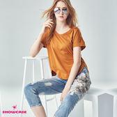 【SHOWCASE】圓領燙鑽寬襬連袖棉質T恤(黑/白/咖)