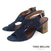 Tino Bellini義大利進口花火沖孔雙側鏤空高跟涼鞋_ 藍 A73017 歐洲進口款