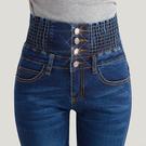 高腰彈力牛仔褲女小腳大碼新款百搭100公斤胖mm春裝鬆緊腰長褲