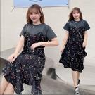 大尺碼洋裝 XL-4XL 圓領碎花短袖顯瘦長版連衣裙 XL-4XL #rc7943 @卡樂@