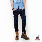 SISJEANS-窄版輕手工擦色深藍牛仔褲【SISMJ001】