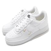Nike 休閒鞋 Wmns Air Force 1 07 ESS 白 金 女鞋 皮革 AF1 小勾勾 刺繡【ACS】 CT1989-100