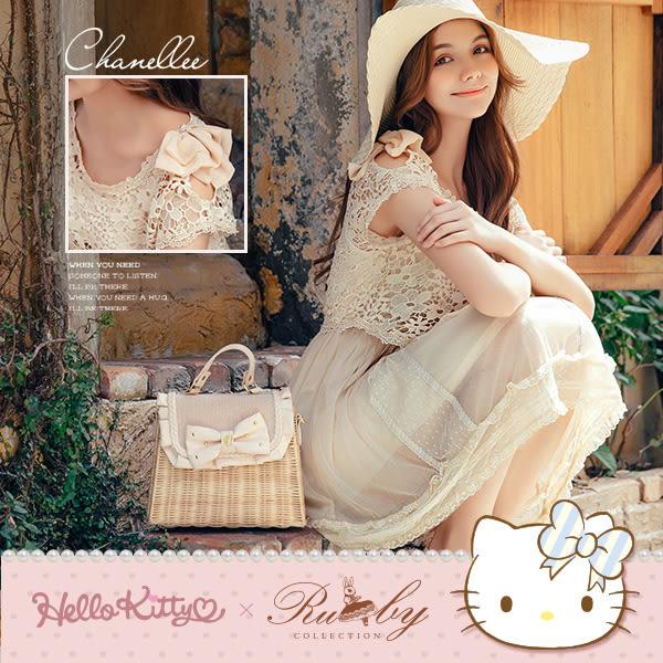 洋裝 Hello Kitty x Ruby 聯名款-挖肩蝴蝶結蕾絲假兩件短袖洋裝-Ruby s 露比午茶