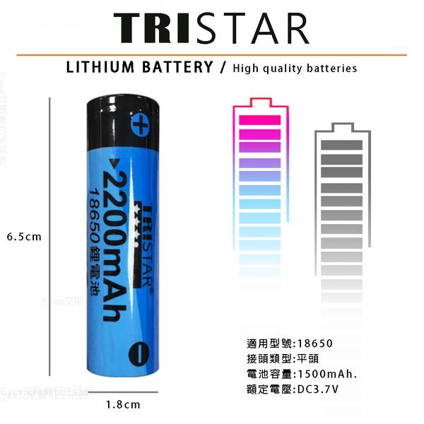 【TRISTAR】18650 平頭式充電電池 2200mah 高容量 3.7V BSMI認證 鋰電池 反覆充電