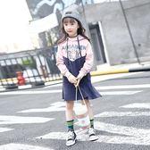 年終盛典 女童秋季連身裙18款洋氣連帽長袖公主裙中大童純棉拼接燈芯絨長裙
