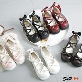 娃娃鞋 厚底 可愛 蝴蝶結 圓頭 娃娃鞋 原宿 平底軟妹 皮鞋