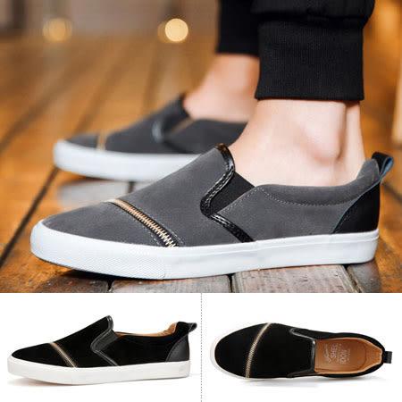 ※現貨 英倫拉鏈裝飾懶人鞋/套鞋/帆布鞋【H601253】灰44
