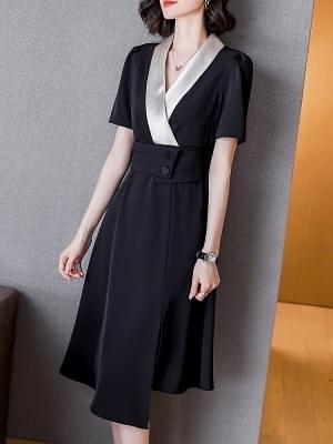 洋裝`黑色連身裙女夏新款修身收腰顯瘦拼接醋酸V領設計感a字裙H456-C胖妞衣櫥
