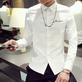 襯衫男士長袖韓版修身潮流休閒簡約百搭帥氣白色襯衣chic