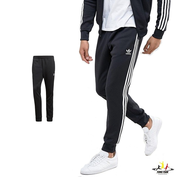 Adidas Originals 黑色 男款 愛迪達 三葉草 運動褲 縮口褲 棉褲 運動 休閒 慢跑 長褲 CW1275