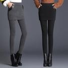 假兩件褲子 加絨打底褲女外穿冬加厚假兩件短褲保暖高腰彈力大碼顯瘦小腳褲裙 童趣屋