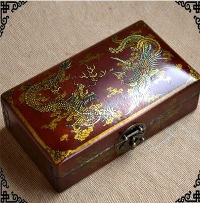 仿古首飾盒中式實木複古收納盒結婚婚慶禮金百年龍鳳呈祥高檔木盒