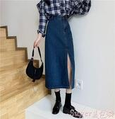 牛仔半身裙 大碼側開叉牛仔半身裙中長款ins小心機包臂裙春胖mm遮胯顯瘦長裙  新品