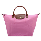 LONGCHAMP 經典短提把中型尼龍摺疊水餃包(粉紅色)480101-058