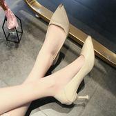 高更鞋女不磨腳少女單鞋細跟尖頭貓跟黑色工作鞋軟皮中跟YJ403【宅男時代城】