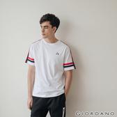 【GIORDANO】 男裝G-MOTION拼接織帶撞色短袖T恤-05 標誌白
