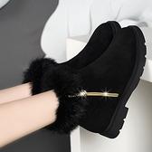 短靴女鞋年新款棉鞋秋冬季加絨短筒百搭踝靴冬鞋裸靴平底磨砂 風尚