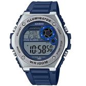 CASIO 卡西歐 手錶 專賣店 MWD-100H-2A 數字電子錶 男錶 橡膠錶帶 藍色 防水100米 LED照明 MWD-100H
