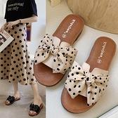 拖鞋女夏外穿2021  蝴蝶結一字拖牛筋平底軟防滑孕婦沙灘涼拖鞋童趣屋