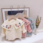 女童翻領毛衣嬰兒繡花針織開衫兒童洋氣外套寶寶公主 裝上衣潮小山好物