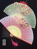 6寸烤漆邊真絲古風扇子櫻花竹折扇古典中國風舞蹈扇子漢服女月輪 英雄聯盟