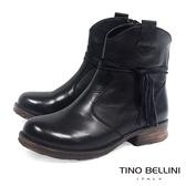 Tino Bellini不羈皮革綁繩低跟短靴_黑 A69043