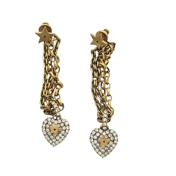 Dior 迪奧 金黃銅星星及愛心水鑽垂墜式復古耳環 Earrings 【BRAND OFF】